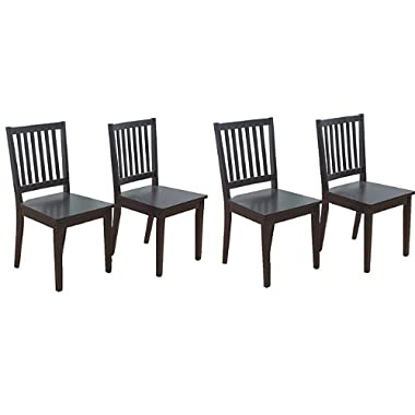 Slat Black 10018BLK4 Rubberwood Dining Chairs (Set of 4).