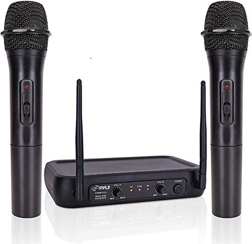 Pyle Channel Microphone System-VHF Fixed Dual Frequency Wireless Set with 2 Handheld Dynamic Transmitter Mics, Receiver Base-for PA, Karaoke, Dj Party (PDWM2135)