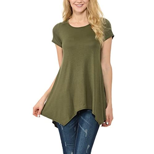 0a94a346ae6998 Shamaim Womens Short Sleeve Flattering Comfy Tunic Loose Fit Flowy Top  outlet