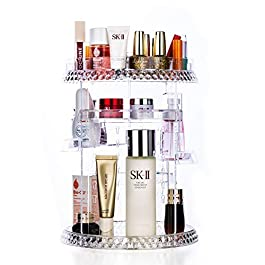 360 Degree Rotating Makeup Organizer Clear Adjustable Layers Large Capacity Multi-Function Cosmetics Accessories Storage Holder Fits Different Types of Products (C)