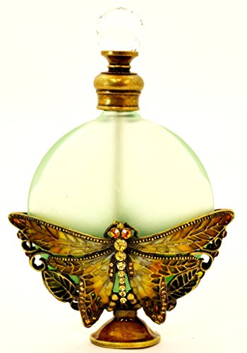 Ciel Collectables Vintage Look Dragonfly Green Frosted Glass, Swarovski Crystal Perfume (Dragon Perfume Bottle)