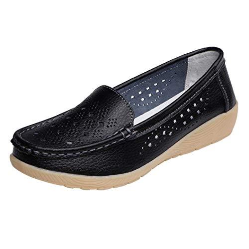 Otoño Mini Negro Mujer Tacón Para Cuero Paolian Hueco Cómodos Grande Suela Moda Dama Plataforma Zapatillas Blanda Zapatos Señora 2018 Náuticos Calzado De Loafer Verano Talla Casual Cuña wxFqC7pYC