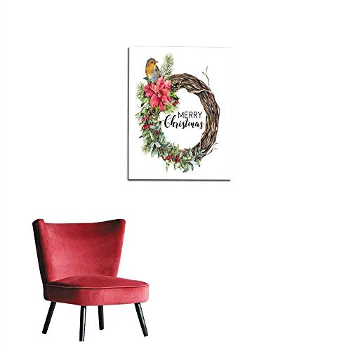Photographic Wallpaper Watercolor Christmas wreath with bird Hand painted tree frame with robin poinsettia holly snowberry floral and fir branch isolated on white background Holiday cardmural 20