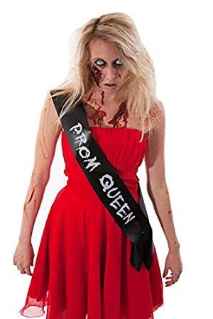 ZOMBIE PROM QUEEN SASH CHEAP HALLOWEEN FANCY DRESS COSTUME OUTFIT IDEA BLACK