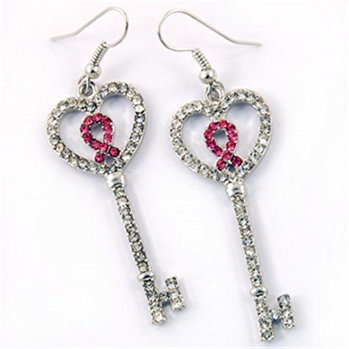 Pink Ribbon Earrings BX Clear Pink Crystal Breast Cancer Awareness