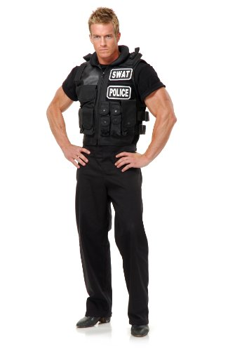Swat Team Vest Adult Costume, One Size, Black -