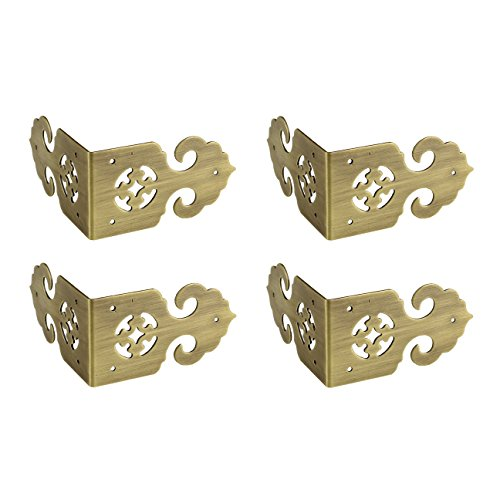 RZDEAL 4pcs 2.8'' x 1.6'' Brass Box Corner Protector Antique Hollow Hardware Desk Edge Guards Right Angle Wood Jewelry Box Photo Frame ()