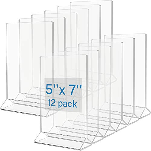 MaxGear Sign Holder 5x7 inches Acrylic Frame Menu Holder Plastic Paper Holders Clear Display Stand Table Top Sign Frames for Office, Home, Reception, Restaurant - Double Sided Vertical, 12 Pack