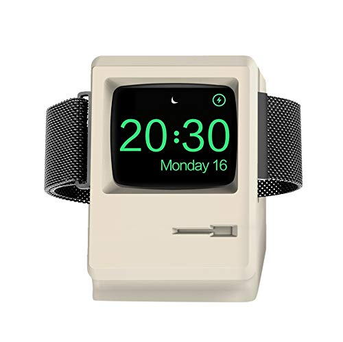 iClassic Apple Watch Stand 1984 Mac Apple iWatch Stand Charger Charging Dock Holder Charging Station with Nightstand Mode for Apple i Watch Charger 42mm / 38mm with Cable Management - Macintosh White