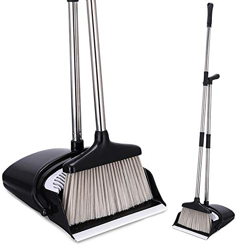 HeloGreen Broom and Dustpan Set: Ideal For Kitchen, Home and Lobby, Easy Assembly, Small Broom and Dust Pan Combo, Self-Cleaning Soft Sweep Broom Bristles - Premium Brush, Wisp and Dust Cleaner, Black ()