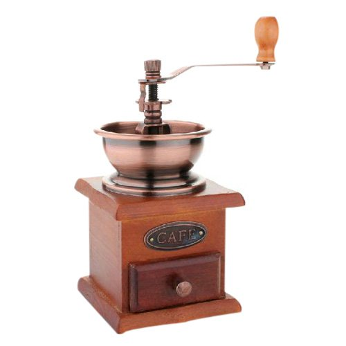 MiniInTheBox Manual Coffee Grinder Adjustable BM-07 Vintage Style Hand Coffee Mill Burr Coffee Grinder with Wood Hand Crank Drawer Review