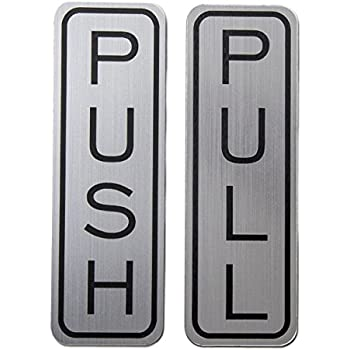 Classic vertical push pull door sign brushed silver medium