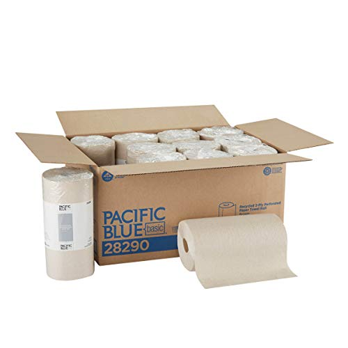 Pacific Blue Basic 2-Ply Recycled Perforated Paper Roll Towel (Previously Branded Envision by GP PRO (Georgia-Pacific), Brown, 28290, 250 Sheets Per Roll, 12 Rolls Per Case