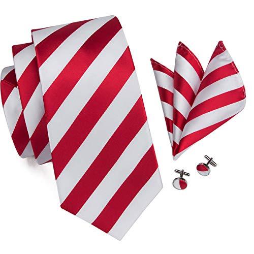 Hi-Tie Men White Red Stripes Tie Handkerchief Necktie with Cufflinks and Pocket Square Tie ()