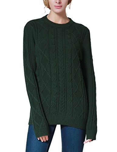 Rocorose Women's Cable Knit Long Sleeves Crewneck Tunic Sweater Green L Classic Cable Crewneck Sweater