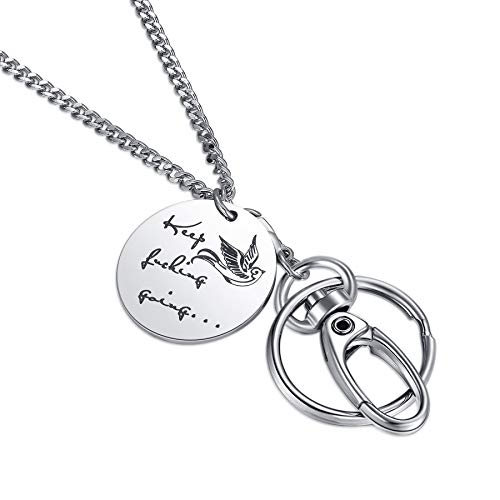 Crimmy Fashion ID Necklace Lanyards for Women, Super Strong Badge Holder and Keychain, Women's Inspirational Gifts (Keep FING Going) -