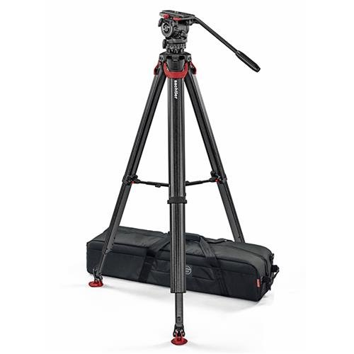 Sachtler System FSB 8 FT Sideload Fluid Head with Flowtech 75 Carbon Fiber Tripod & Mid Level Spreader by Sachtler