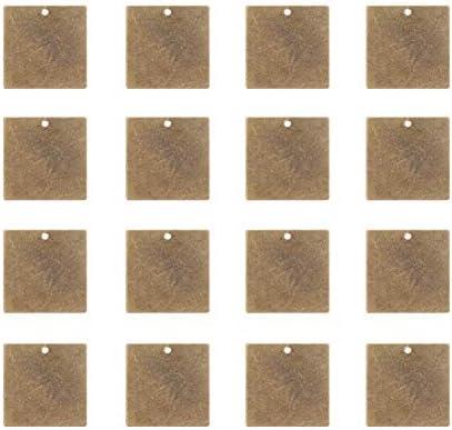 [スポンサー プロダクト]PH PandaHall 約50個セット ブラス 刻印 タグ 名札 プレート 正方形 20x20x0.