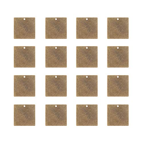 PandaHall Elite 50 Pcs Brass Flat Square Blank Stamping Tag Pendants Charms 20x20x0.5mm for Jewelry Making Antique ()