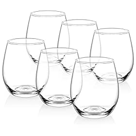 [Set of 6] Zuzoro Stemless Wine Glasses – 15oz – Decorative Long-lasting & Durable W