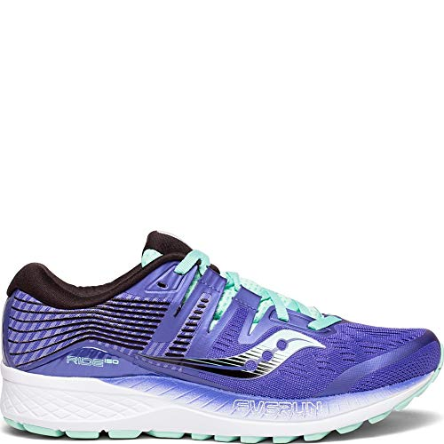 Saucony Women's Ride ISO Shoes, Violet/Black/Aqua, 8.5