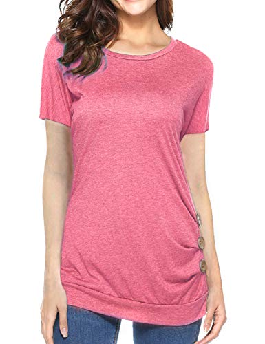 Weilim Women's Casual Blouses T-Shirt Round Neck Short Sleeve Loose Button Decor Top Pink ()