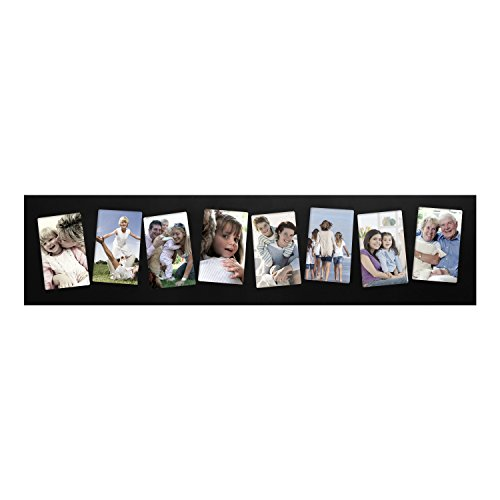 Adeco [PF0266] Black Wood Wall Hanging Picture Photo Collage Frame, 8 Slanted Tilted Skewed Openings, 4x6 inches