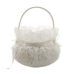 Amazon.com: Flower Girl Basket Wedding Collection Traditional Ivory ...