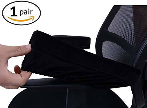 Comforfeel Memory Foam Office Chair Arm Covers- Comfortable Elbow Pillow- Chair Arm Rest Computer Pads(2 Piece Set) (BLACK)