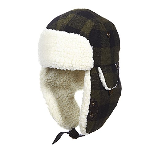Woolrich Buffalo Check (Woolrich Wool Blend Buffalo Check Aviator with Fleece Lining Trapper (L, GRN/BLK))