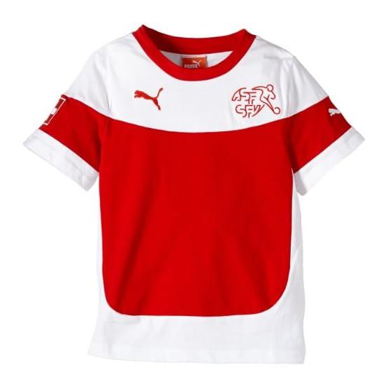 PUMA Maillot de Supporter Équipe Suisse pour Enfant Rouge Rouge Chili/Rouge 8-9 Ans