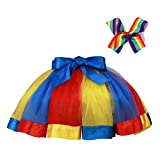 RunRRIn Tutu Skirt, Layered Ballet Tulle Rainbow Tutus for Little Girl Dress up with Colorful Hair Bows(Blue red Yellow-M)
