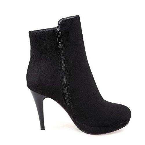 Frosted Women's Allhqfashion Closed Solid Boots Toe Black Heels top High Low Round 7f11xqO5dw