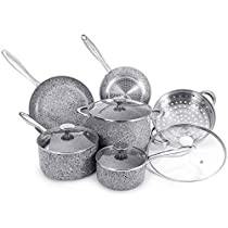 MICHELANGELO Granite Cookware Set 10 Piece, Ultra Nonstick Pots and Pans Set with Stone-Derived Coating, Stone Cookware Set Nonstick, Include 8Qt Stock Pot & Steamer Insert - 10 Piece