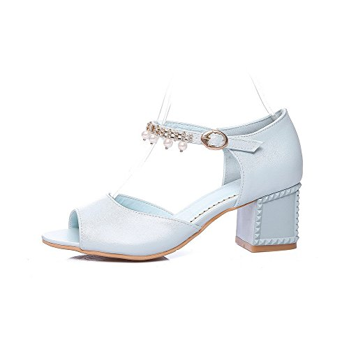 Buckle Kitten Women's WeenFashion Heels Sandals Solid Open Blue Toe pqTHwAF