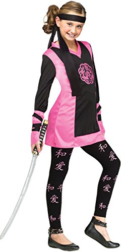 Dragon Ninja Girl Kids Costume, Black / Pink, (Pink Ninja Costumes)