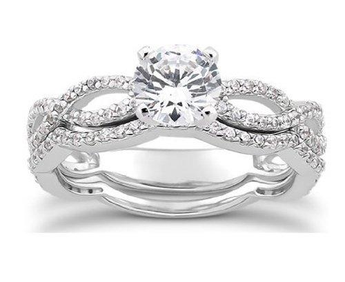 1.00CT Pave Diamond Engagement Wedding Ring Set 14K White Gold
