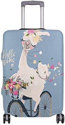 (ソレソレ)スーツケースカバー 防水 伸縮素材 キャリーカバー ラゲッジカバー アルパカ かわいい 可愛い ブルー おもしろ 花柄 可愛い おしゃれ 防塵 旅行 出張 便利 S M L XLサイズ