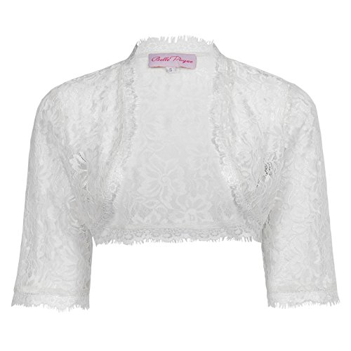 Classy Hot Fitted Party Long Sleeve Floral Shrug Crop Jacket(L, White)