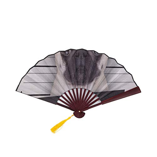 SGFDH Folding Paper Fans Handheld Funny Cute Pug Holding A Placard While A Mugshot I with Bamboo Frame Tassel Pendant and Cloth Bag Hand Fans for Weddings Outdoor Hand Fan Hand Fan Toy