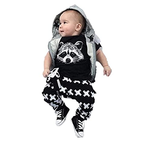 Winhurn Newborn Baby Boys Vivid Fox Head T-shirt Top + Pants Clothes Set (0-6 Months, Black)