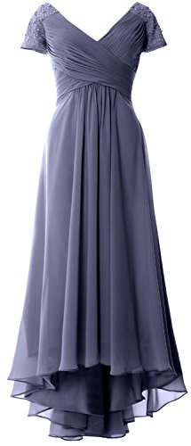 Hi Mother Bride Evening lo Cap Neck Blue Sleeves Of V Dress Women Formal Gown Steel Macloth 8n0wvNm
