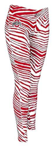 Ohio State Buckeyes Print (NCAA Ohio State Buckeyes Women's Zubaz Zebra Print Team Logo Leggings, Large, Red/Gray)