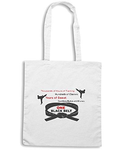 T-Shirtshock - Bolsa para la compra TAM0148 one black belt white tshirt Blanco