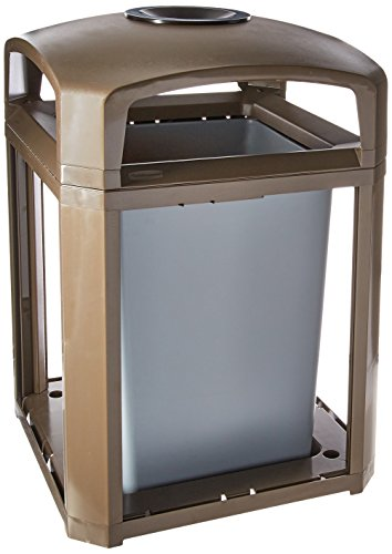 Landmark Trash Can - Rubbermaid Commercial Landmark Trash Can Frame with Ash Tray, 35 Gallon, Driftwood, FG397001DWOOD