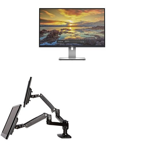 Price comparison product image Two Dell UltraSharp U2715H 27-Inch Screen LED-Lit Monitors Bundled with AmazonBasics Dual Side-by-Side Mounting Arm