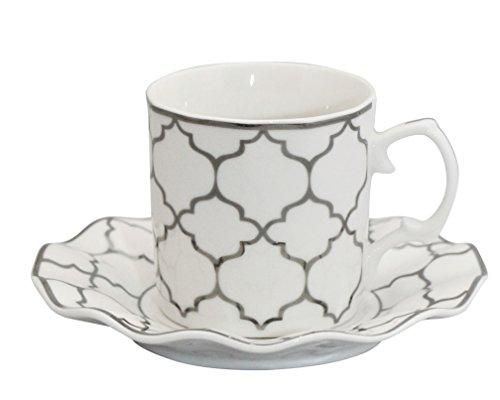 Pattern Demitasse - Porcelain Bone China Espresso Turkish Coffee Demitasse Set of 6 Delicate Pattern Cups + Saucers (Silver Geo)