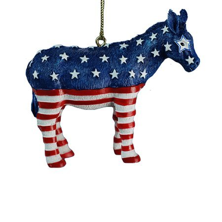 Donkey Christmas Ornament (Kurt Adler Resin Red White and Blue Democratic Patriotic Donkey Ornament)