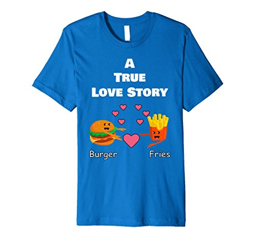 Cute Halloween Outfits For Couples - Mens BURGER and FRIES Cute Couple T Shirt PREMIUM Halloween Shirt Medium Royal Blue