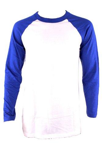 Knocker / Top Pro Men's Long Sleeve Baseball Raglan Shirt-White/Royal-XL (Pro Style Baseball Jersey)